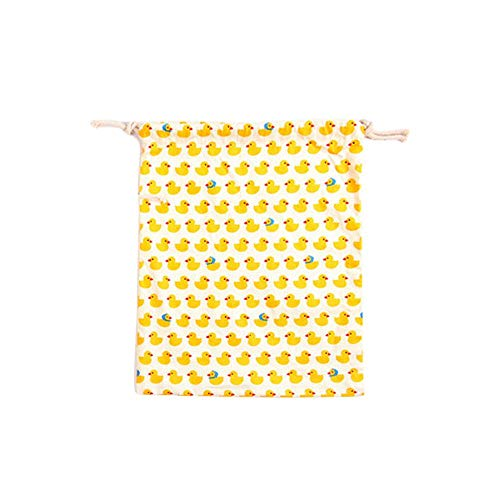 YIXIA Drawstring Bag (3pcs Per Sale) Small Yellow Bear Triangle Pattern Printed Cotton And Linen Storage Drawstring Packaging Suitable for Gym Shopping, Sports and Yoga