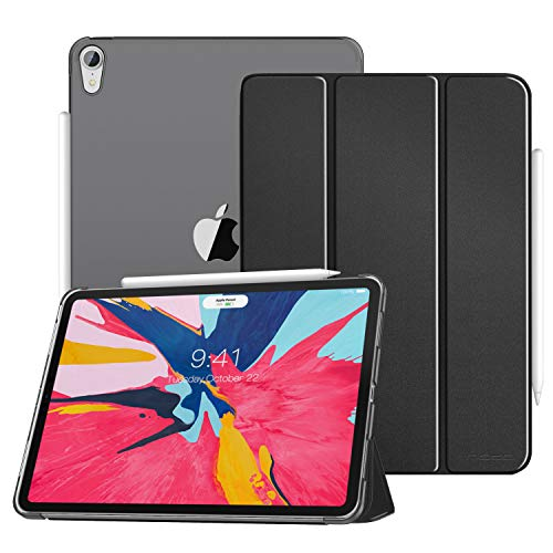 MoKo Case Fit iPad Pro 12.9' 2018 - Translucent Frosted Back Protector Smart Shell Stand Cover with Apple Pencil's Magnetic Attachment Side Opening Fit iPad Pro 12.9 Inch 2018 - Black(Auto Wake/Sleep)