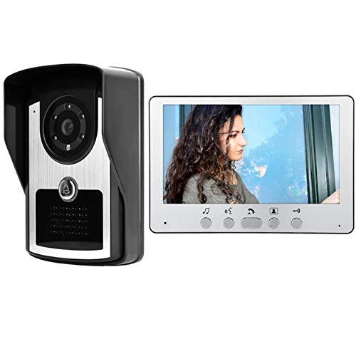 Sistema de videoportero, 16 acordes, 7 pulgadas, cable Tft, intercomunicador visual, timbre de video, para mejoras en el hogar, monitoreo del exterior(Enchufe del Reino Unido)