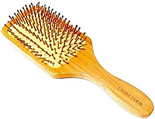 Dobyitem ヘアブラシ 木製 パドルブラシ 髪に優しい 静電気除去 頭皮マッサージ 美髪効果 お得な (大きめブラシ&専用クリーナー,交換ピン,巾着,取説,1年間保証書)5点セット