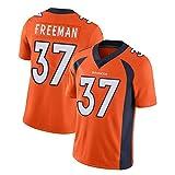 SFVE Denver Broncos Freeman # 37 Maillot de rugby pour homme USA Maillot de football à séchage rapide en coton à manches courtes pour l'exercice et le quotidien. -  Orange - Medium