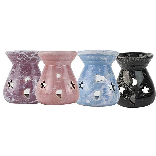 Tonglura Inesblable Difusor 5pcs sostenedor de Vela de cerámica de la Fragancia del Aroma Quemador de Aceite Hecho a Mano Quemador Color al Azar Plegable (Color : Multi)