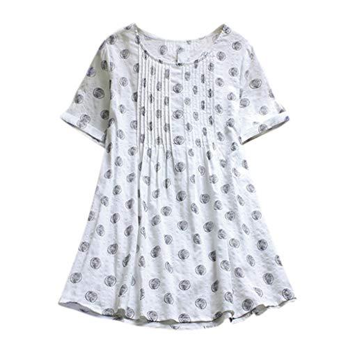 iHENGH Damen Top Bluse Bequem Lässig Mode T-Shirt Frühling Sommer Blusen Frauen Casual Boho Plus Größe Lose Leinen Dot Wave Swing Lange Tops Shirt(Weiß, M)