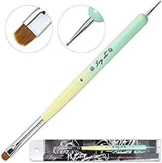 Ivy-L Premium 2 Ways French Gel Acrylic Nail Art Kolinsky Brush with Dotting Tool for Professional Manicure Nail Art Design Cuticle Clean-up + Lime Green Wood Handle (Size 6)