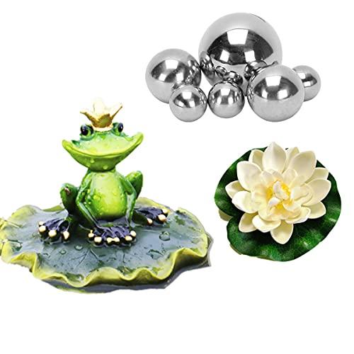 Super Idee Miniteich Deko Set Frosch auf Blatt Teichfigur mit 6 Schwimmkugeln und 2 Schwimmend Lotusblüte für Miniteich Terrassenteich Zinkwannen Solarbrunnen Garten Balkon Teiche Deko (Froschkönig)