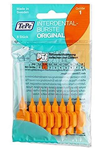TePe - Interdentalbürsten mit Oral-Zahnseide - 3 Pakete von 8 (24 Bürsten) (Orange 0.45mm)