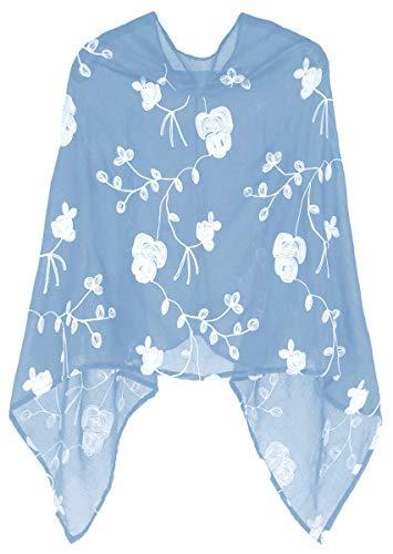 dy_mode Damen Poncho Leichter Cape mit Blumen Bestickung - WJ037 (WJ037-Zartblau)
