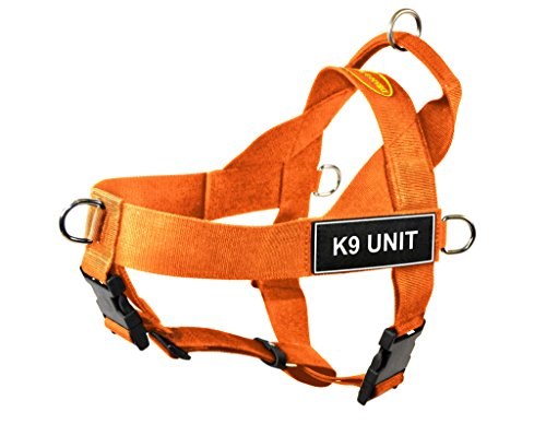 Dean & Tyler DT Universal No Pull Dog Harness with K9 Unit Patches, Orange, X-Large