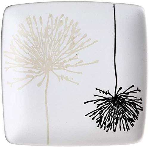ZGYZ Vajilla de cerámica con Serie de Diente de león,vajilla y vajilla,Plato Especial Cuenco de arroz,vajilla Blanca (Plato de 10 Pulgadas de Profundidad)