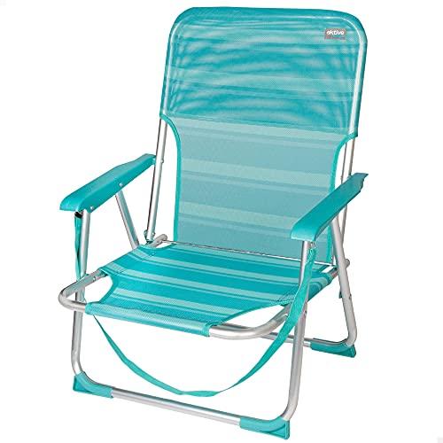 Aktive 53958 - silla plegable fija aluminio 55 x 35 x 72 cm - turquesa (mediterráneo)