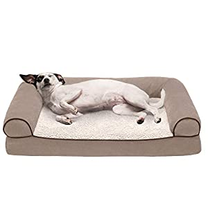 Furhaven Pet Dog Bed – Orthopedic Faux Fleece and Chenille Soft Woven Traditional Sofa-Style Living Room Couch Pet Bed with Removable Cover for Dogs and Cats, Cream, Medium