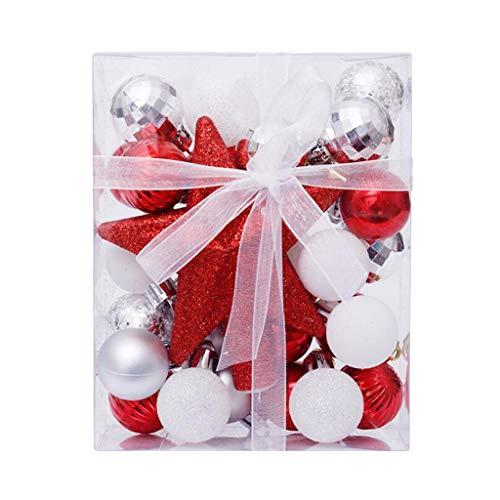 "UTPO Christmas Ball Ornaments Shatterproof Christmas Decorations Tree Balls for Holiday Wedding Party Decoration, Tree Ornaments Hooks Included 1.18"" (Red+ White Silver,30 PCS)"