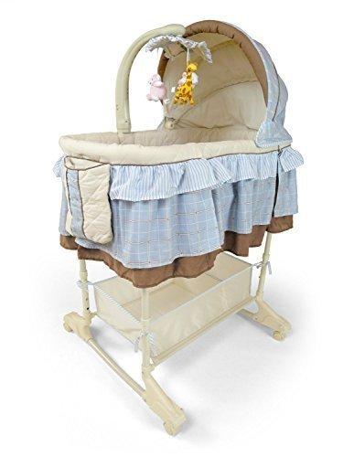 Best For Kids Wiege Stubenbett 4 in 1 Schaukelwiege Babybett mit Melodie, Vibration, Licht, Nachtlampe und Schaukel mit Fernbedienung in zwei Farben zur Auswahl. (Blau)