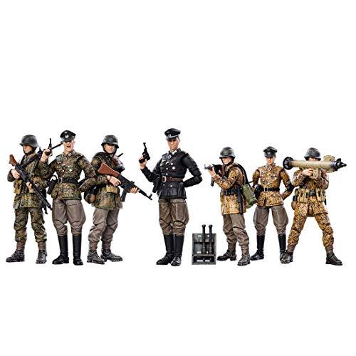 Gedar Actionfigur Kit, 7 Stück Deutsche Wehrmacht Actionfigur Soldat Figuren Soldaten, 1/18 10.5CM Actionfiguren Modell
