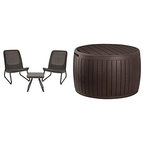 Keter Rio 3 Piece Resin Wicker Patio Furniture Set with Side Table and Outdoor Chairs, Whiskey Brown & Circa 37 Gallon Round Deck Box, Patio Table for Outdoor Cushion Storage, Brown