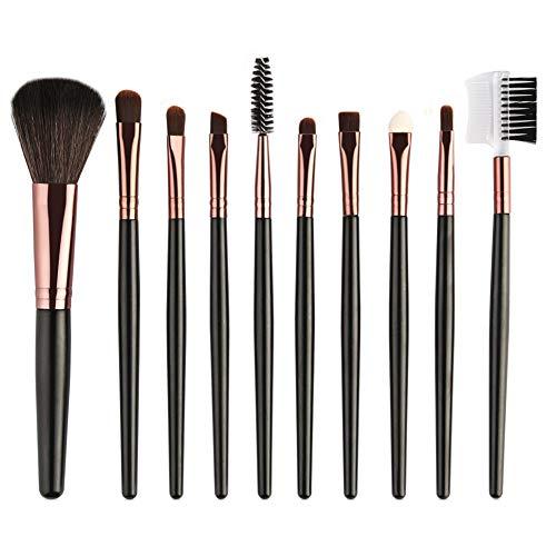 Momangel Professionnel 10pcs Set/Kit Fard à paupières peigne à sourcils éponge à cils Pinceaux Maquillage Cosmétique Pinceaux Black + Coffee