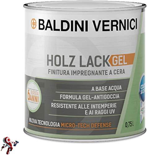 Finitura per legno esterno HolzLack Gel 750 ml impregnante legno esterno cera cerato bianco trasparente noce scuro noce chiaro impregnante per legno esterno Baldini Vernici (INCOLORE)