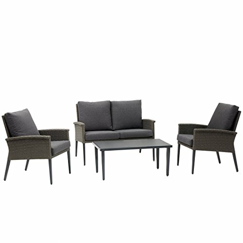 Westfield Outdoors Ruby Lounge Outdoor Garden Rattan Furniture Set for Four in Grey with Love Seat, Armchairs and Coffee Table