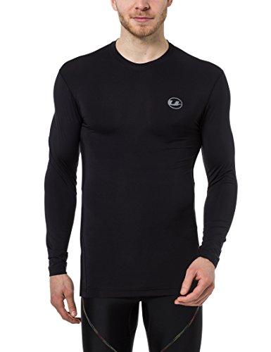 Ultrasport Maglia a compressione lunga da uomo, maglia funzionale Ben, traspirante - utilizzabile come maglietta da ciclismo, maglia da allenamento, maglia da corsa e per bodybuilding, maglia a compressione, Nero, XL