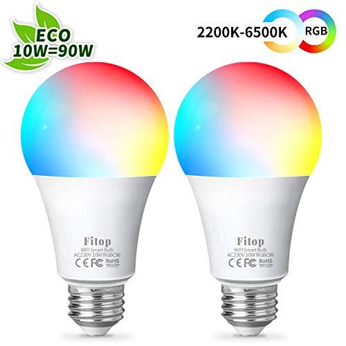 Alexa Lampen Fitop Smart Lampe E27, Wlan Glühbirnen Led Kompatibel mit Alexa / Google Home, 10W 1000LM, Dimmbar Mehrfarbige Birne, kein Hub benötigt