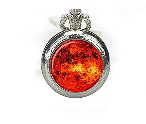Sonnen-Taschenuhr Anhänger Sonnenuhr Halskette Galaxie Uhr Halskette Raumuhr Anhänger Sonne Orange Schmuck Halskette