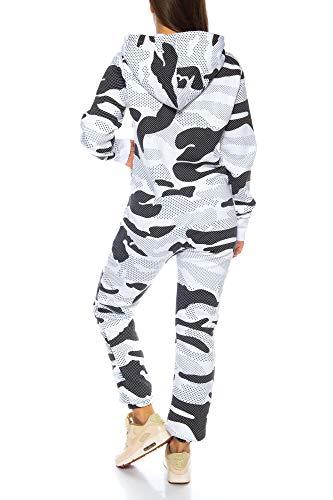 Crazy Age Herren Jumpsuit Overall Strampeler Latzhose Ganzkörperanzug Sweat Camouflage Design. Warm, Weich, Sportlich (XS, Camouflage Damen 2) - 4