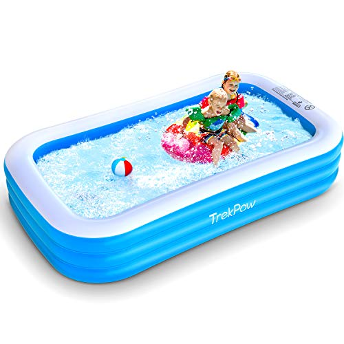 "TrekPow Inflatable Swimming Pool, 120""x72""x22"" Full-Sized Blow Up Pool for Adults, Easy Set & Durable Above Ground Pool for Backyard Outdoor Garden Summer Fun Pool Party"