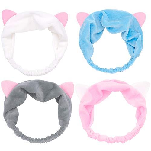 Dokpav 4 Pcs Haarband für Make-up, Katze Ohr Stirnband für Damen Mädchen Gesicht Waschen,grau rosa weiß Blau
