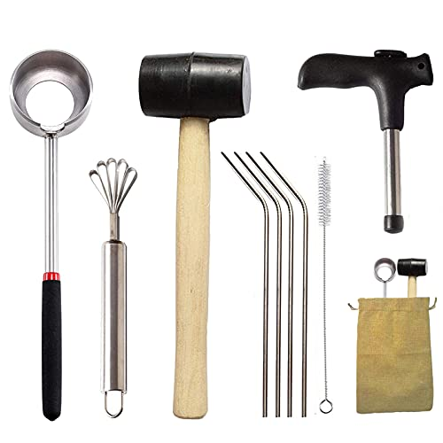 Coconut Opener Tool Set for Young Mature Coconuts, coconut opening Safe Easy to Use,Food Grade...