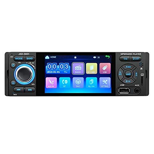 YYKJ 1Din autoradio - Touchscreen BT autoradio, universele autoradio MP5-speler, Bluetooth FM SD USB Aux-ontvanger met achteruitrijcamera