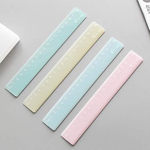 1pc Estilo Simple Color Caramelo De Plástico Regla Transparente Regla para Niños Diseño Regla De La Escuela Suministros De Dibujo Kawaii Suministros, 15cm Azul