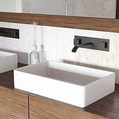 """VIGO VG04010 13.88"""" -21.25"""" W -4.75"""" H Magnolia Handmade Countertop White Matte Stone Rectangle Vessel Bathroom Sink in Matte White Finish"""