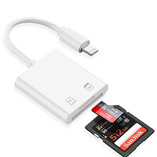 【2021改良バージョン 512GB対応】iPhone SD/MicroSDカードリーダー プラグ&プレイ 双方向高速転送 カメラメモリカードリーダー Word、Excle、PPT、PDF 写真/動画を読み書き (SDSC/SDHC/miniSD/microSD/MMC/SDXC 対応) Phone 12/12 Pro/11/11 Pro/XS/XR/X/8/7/6//SE、iPad Air/Pro/Mini対応