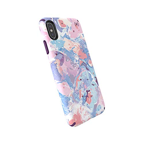 Speck iPhone Xs Max Case, Presidio Inked, Resort Marble/Hyacinth Purple