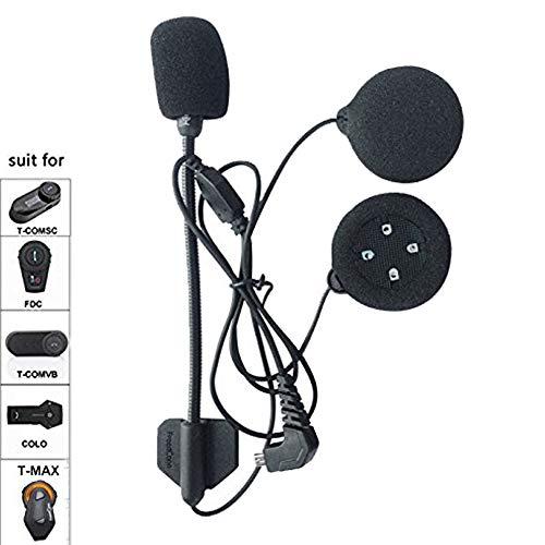FreedConn Auricular con micrófono Adecuado para el intercomunicador de la Serie TMAX, T-COM, T-COMVB, Incluyendo Clip de intercomunicación,Auriculares de Alta definición con 4 Altavoces(Cable Duro)