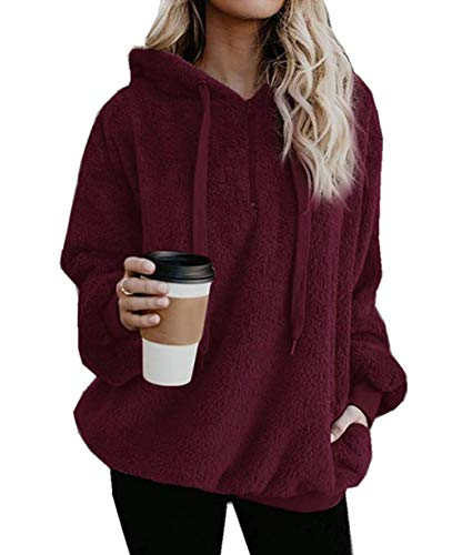 Yidarton Pullover Damen Hoodie Winter Lose Warm Kapuzenpullover Teddy-Fleece Langarm Oversize Sweatshirt mit Kapuze (Burgund, XXX-Large)