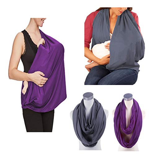 2 Pack Nursing Cover Breastfeeding Cover Breast Feeding Cover ups Infinity Scarf, JTSN Lightweight Soft Breathable Udder Cover Light car-seat Stroller Canopy mom Baby Essentials (Dark Gray Purple)