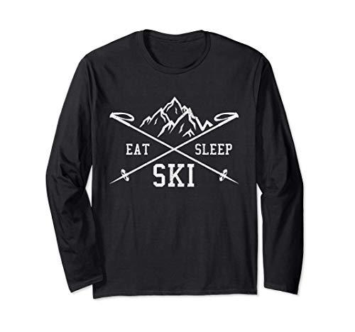 Eat Sleep Ski Repeat - Skiurlaub Skifahrer Geschenk Langarmshirt