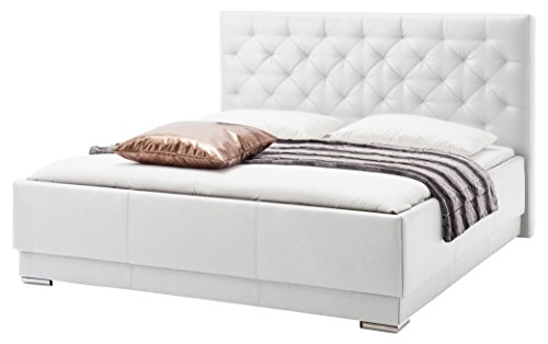 sette notti  Polsterbett Bett 180x200 Weiß, Bett mit XXL Kopfteil mit Steppung, Boxspringbett-Optik, Kunstleder Bett Liegefläche 180x200 cm, Pisa Art Nr. 1124-10-5000