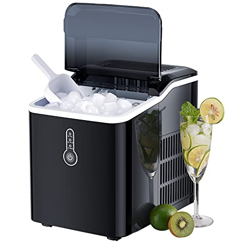 Ice Cube Maker, Make 26lbs Ice in 24 Hours Counter Ice Maker Machine, 9 Cubes in 7mins Countertop Ice Machine with LED Display, Ice Scoop and Basket for Home/Bar/RV