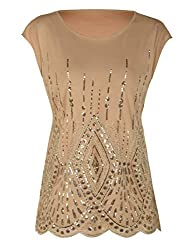 Gold Beige(beads&sequins) Loose Bat Sleeve Party Tunic Tops
