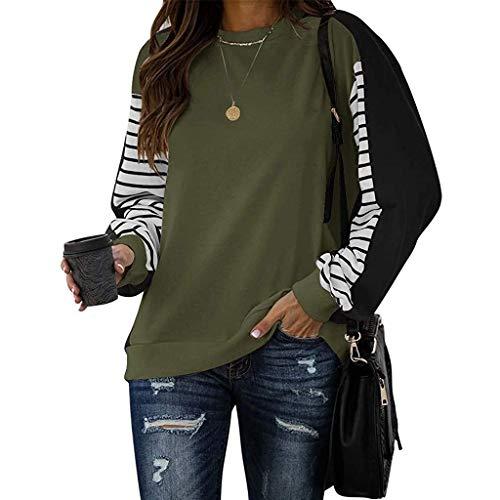 BUKINIE Damen Casual Color Block Langarm Rundhals Streifen T-Shirt Lose Pullover Sweatshirt Tops Gr. XXL, armee-grün