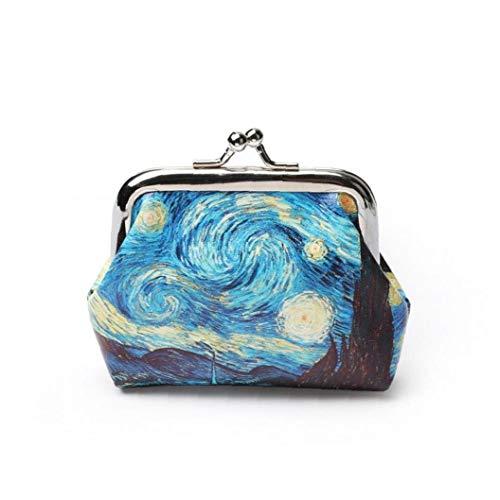 1pc Van Gogh Aceite Impresión Pequeño Monedero Monedero Titular de Tarjeta Monedero Noche Estrellada Organizador del Embrague