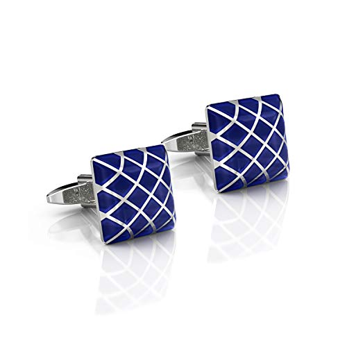 DUVERNET Gemelli di Lusso Blu Reale per Uomo - Affari - Abito - Class & Chic per Matrimonio - Idea Regalo Gemelli per Camicia - Cura (Blue)