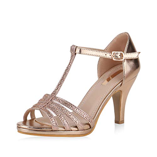 SCARPE VITA Damen Pumps Sandaletten Leder-Optik Riemchensandaletten Strass Metallic Party Schuhe Elegante Stiletto Mid Heels 168106 Rose Gold 37
