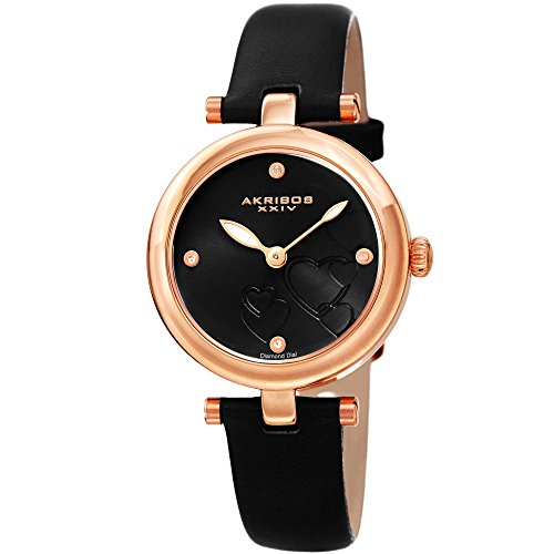 Akribos XXIV Women's Diamond Accented Heart Engraved Dial Rose Gold & Black Leather Strap Watch - Packed in a Beautiful Gift Box, Perfect for Mothers Day- AK1044BKR