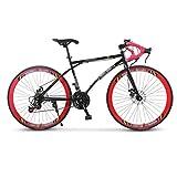 ZGGYA Bicicletta Ibrida, Doppio Freno A Disco, Telaio In Acciaio Ad Alto Tenore Di Carbonio, Bici Da Corsa Da Corsa, Bicicletta A 24 Velocità Da 26 Pollici, Bicicletta Per Adulti Maschio E Femmina