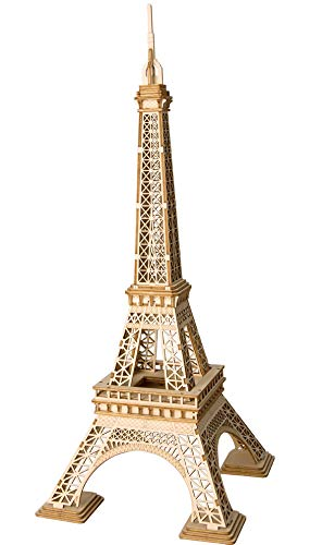 Eiffel Tower Wooden 3D Puzzles Model Creative Puzzle World Great Architecture DIY Toys 121-Piece Wood Craft Kit Best Educational Gift for Kids