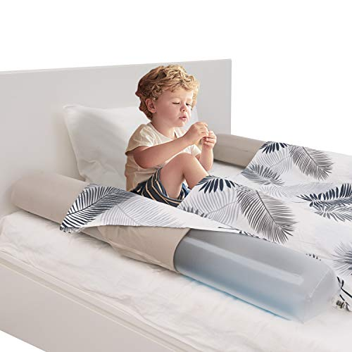 HBselect 2pcs Bettgitter Rausfallschutz Bett aufblasbarer Bettrand Kinderbett mit abziebarer Decke Bettschutzgitter für Kleinkind Baby Kinder voll weich Bettkante 122 x 20 x 15 cm