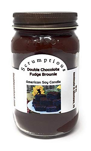 The Old Wax Shack Fudge Brownie, Double Chocolate Scented 100% Soy Candle, 16 Oz.